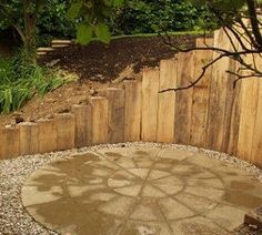 Railway sleeper raised bed Fire Pit Wall, Fire Pit Decor, Easy Fire Pit, Large Fire Pit, Gazebo With Fire Pit, Fire Pit Backyard, Sleeper Retaining Wall, Retaining Walls, Railway Sleepers Garden