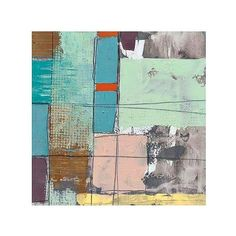 "Pastel City II 35"" Square Abstract Giclee Canvas Wall Art ($240) found on Polyvore"