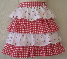 Retro Cherry and Ruffles Half Apron / Red Gingham by Eclectasie, $30.00