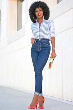 Striped Button Down Shirt + High Waist Levis Jeans Style Pantry waysify