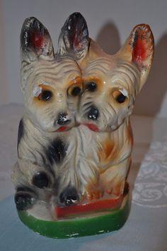 Scottie Dogs Chalk Figure Carnival Prize Chalkware Vintage.