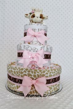 Giraffe Girls Baby Diaper Cake Shower Centerpiece or Gift created by www.diannasdiapercakes.com