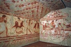 Etruscan Art: Fresco depicting a banquet scene, from the Tomb of the Triclinium. Archaeological Museum, Tarquinia