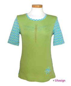 Shirt, grün, Libelle, Strass