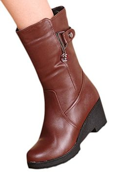 Ace Womens Winter Real Leather Wedges Midcalf Knight Boots 7 brown *** Read more reviews of the product by visiting the link on the image.