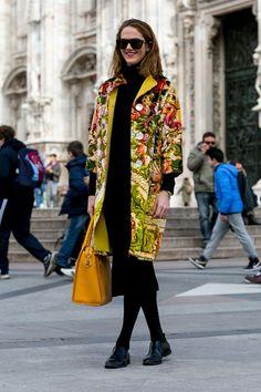 Beautiful printed coat from Milan Fashion Week