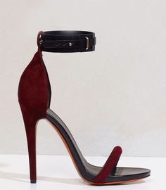 Céline oxblood high heel sandals with ankle strap