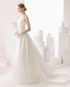 Enkel A-linje Ärmlös Svepsläp Satin Brudklänningar  1 Wedding Dresses 2014 0cff4ce285e7a
