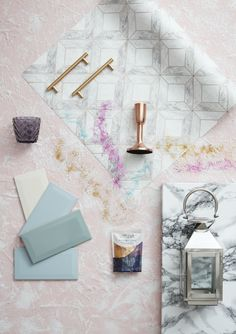 How to add some Unicorn magic to your kitchen by embracing pink walls, white cabinets, and rose gold kitchen accessories in From B&Q. Pink Kitchen Walls, Pink Walls, Kitchen Colors, Rose Gold Kitchen Accessories, Kitchen Trends, Kitchen Designs, Kitchen Ideas, Flat Lay Photography, Flatlay Styling