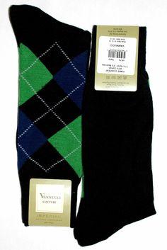 Groomsmen Socks Navy Blue Green Argyle Mens Dress Sock - Vannucci