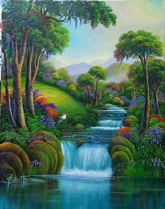 2018 Beautiful Painting On Canvas - Canvas Wall Decor Fantasy Art Landscapes, Fantasy Landscape, Landscape Art, Landscape Paintings, Nature Paintings, Beautiful Paintings, Beautiful Landscapes, Landscape Pictures, Nature Pictures
