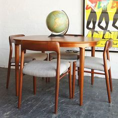 Around the table with Niels Møller model 75 dining chairs. Fully restored solid teak frames with new upholstery. Now at & online. Mid Century Dining, Flat Ideas, Danish Design, Dining Tables, Amanda, Retro Vintage, Upholstery, Frames, Sweet Home