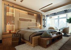 Im Schlafzimmer Akzente mit Licht und Holz gestalten