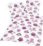 Aminata Kids  Bettwäsche Eule rosa pink und lila 135200 Baumwolle Linon mit Reißverschluss