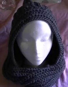 Crochet Hooded Scarf scoodie pattern and video tutorial