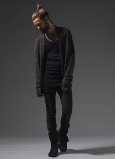 black on black, cardigan t shirt shoes hair beard great look men fashion streetstyle <33333