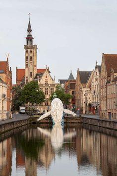 une sculpture de baleine en vieux plastiques dans un canal de Bruges  2Tout2Rien