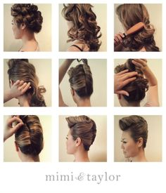 1. set hair in pin curls, add some styling cream for soft hold  2. let hair down and lightly mist hair spray  3. brush hair out focusing on top  4. pull each side back and criss cross bobby pins   5. twist hair up and secure sides with pins  6. tuck hair underneath the twist  7. brush bangs into a wave and pin in ward  8. smooth any hair strays with a light pomade