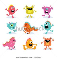 Stock Images similar to ID 221777011 - cute cartoon monsters funny...