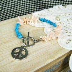 Peace Sign Stone Bracelet