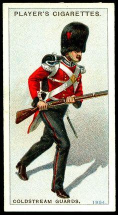 Cigarette Card - Coldstream Guards, 1854   Player's Cigarett…   Flickr British Uniforms, Ww2 Uniforms, Military Uniforms, Military Art, Military History, Military Fashion, British Army, British Soldier, Philippine Army