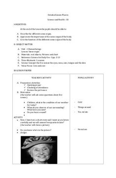 Detailed lesson Plan in Science and Health – III I-OBJECTIVES At the end of the lesson the pupils should be able to: A. Describe the different sense organ. Health Lesson Plans, Science Lesson Plans, Teacher Lesson Plans, Kindergarten Lesson Plans, Kindergarten Science, Health Lessons, Science Lessons, Grade 1 Lesson Plan, Lesson Plan Format