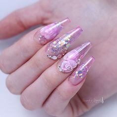 Glass nails with encapsulated roses