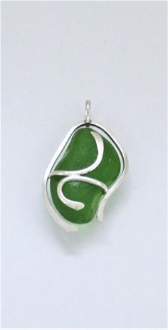 Sea Glass Jewelry - Sterling Caged Green Sea Glass Pendant by SignetureLine on Etsy
