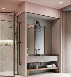 """82 curtidas, 1 comentários - @radardesign no Instagram: """"A cor rosa é linda, suave, chic e fica perfeita no banheiro com cinza concreto #color #bathroom…"""""""