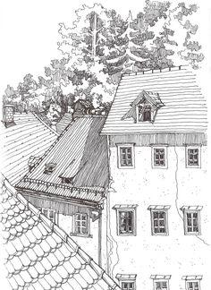 Rooftops sketch urban