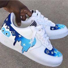 Drip Louis Vuitton X CDG Blue – louis vuitton shoes sneakers Jordan Shoes Girls, Shoes For Girls, Teen Shoes, Ladies Shoes, Custom Painted Shoes, Vans Custom Shoes, Custom Made Shoes, Nike Shoes Air Force, Air Force Sneakers