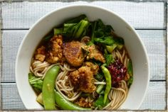 Soba noodle soup with squid balls.