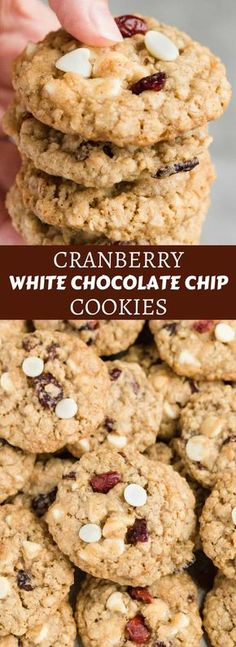 These Cranberry White Chocolate Oatmeal Cookies are amazingly chewy and simple. #cookies #oatmeal #cranberry #whitechocolate