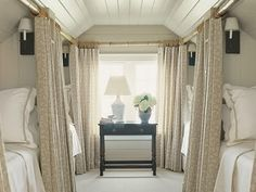 what a great idea of creating a 'bunk room', but still maintaining a sense of privacy for each person with the curtains.  great blog post @Jen Migonis!