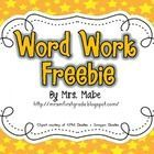 FREE! Sample set of task cards for word work in your classroom.  Included in the freebie are 4 task cards for word work activities and 2 recording sheets.... If you like UX, design, or design thinking, check out theuxblog.com