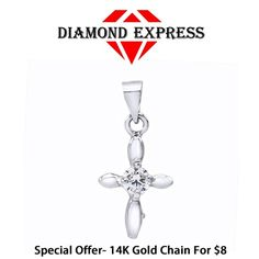 "1/5 Ct Round Cut 14K Gold Solitaire Cross Pendant Without Chain ""Mother\'s Day Gift"". Starting at $1"