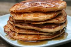Recipe Shoebox: Peanut Butter Pancakes. I'd add chocolate chips!