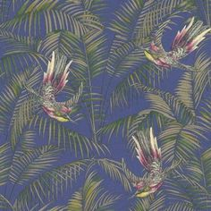 Sunbird (W6543-04) - Osborne & Little Wallpapers - An exotic bird of paradise with boldly coloured leaves, darting through a leaf jungle background.  Shown in the  fuchsia, green and metallic gilver on a electric blue background. Please request a sample for true colour match.