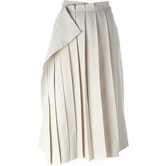 Yohji Yamamoto Vintage Pleated Wrap Skirt ($664) ❤ liked on Polyvore featuring skirts, yohji yamamoto skirt, mid length pleated skirt, high waisted knee length skirt, yohji yamamoto and high-waisted skirts