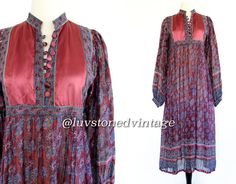 Vintage 70s Indian Tent Cotton Boho Hippie Indian Ethnic Gypsy Festival India Maxi Midi Dress . XS . S . 805.5.13.14