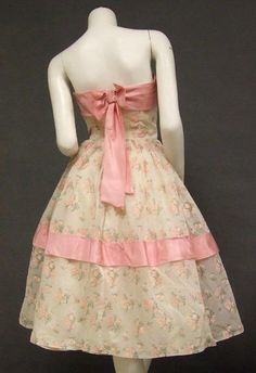 1950's, pink, floral, strapless, bow back.