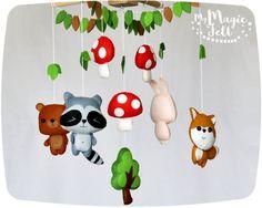 Bébé mobile woodland berceau mobile animaux bébés par MyMagicFelt