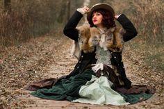 Costume mad'Hands creation robe verte victorian steam steampunk fourrure fox automne XIXe inspiration photo : Pierre Vermare