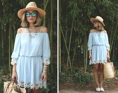Get this look: http://lb.nu/look/6580910  More looks by My Showroom Priscila: http://lb.nu/myshowroomblog  Items in this look:  Chic Wish Off Shoulder Dress, Blackguard 64 Mirror Sunglasses   #bohemian #casual #vintage