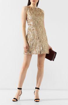 053f854e929 Женское золотое платье с пайетками ALICE + OLIVIA — купить за 69700 руб. в  интернет