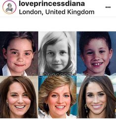 Kate Middleton, Princess Diana, and Meghan Markle as children and adults.