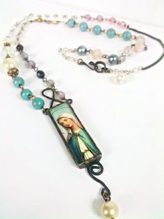 Virgin Mary Necklace, Bohemian Jewelry, Catholic Necklace, Religious Necklace, Vintage Bead Chain Gypsy Necklace, The Madonna, Our Mother