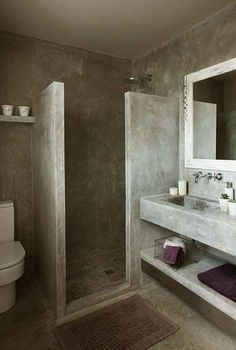 7 Amazing Bathroom Design Ideas (That Will Trend In For the past year the bathroom design ideas were dominated by All-white bathroom, black and white retro tiles and seamless shower room Concrete Shower, Concrete Bathroom, Cement Tiles, Concrete Sink, Stone Bathroom, All White Bathroom, Small Bathroom, Bathroom Ideas, White Bathrooms