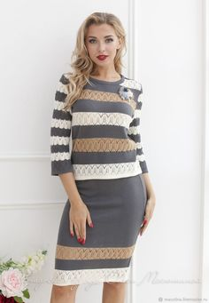 """Knitted two-piece suit """"Natural paints"""" semi-adjacent style by Olesya Masyutina, consists of openwork blouse and pencil skirt! Classy Outfits, Casual Outfits, Fashion Outfits, Suits For Women, Clothes For Women, Gray Skirt, Knitting Accessories, Skirt Outfits, Knit Dress"""
