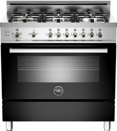 """Bertazzoni PRO366GASNE Professional Series  36"""" Pro-Style Gas Range with 6 Sealed Brass Burners, 4.4 cu. ft. Convection Oven, Manual Clean, Storage Compartment and Telescopic Glide Shelf - See more at: http://www.plessers.com/Bertazzoni/pro366gasne.htm #black #bertazzoni #cooking #kitchen #range"""